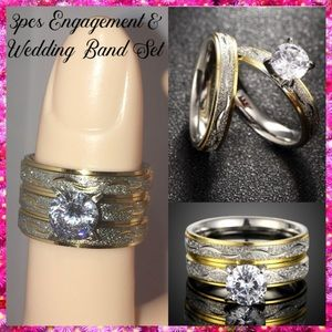 3pcs Two Tone Frosted Steel Wedding Band Ring Set